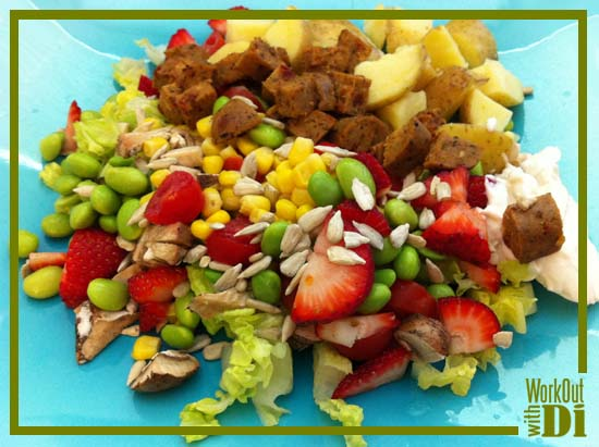 Strawberry, potato & tofurky sausage salad