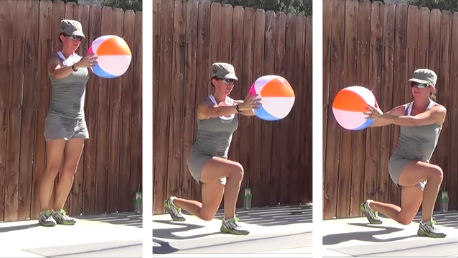 12 minute beachball workout 20140709 lunges