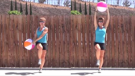 15 min beachball standing workout 20140806 lift chop