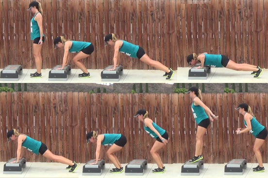 Burpee with a push-up on a step