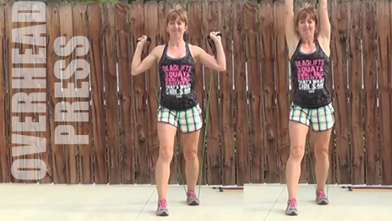 resistance band workout 20150506 OH press