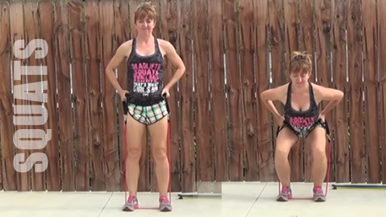 resistance band workout 20150506 squats
