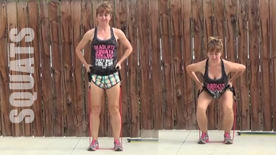 resistance band workout 20150506 squats