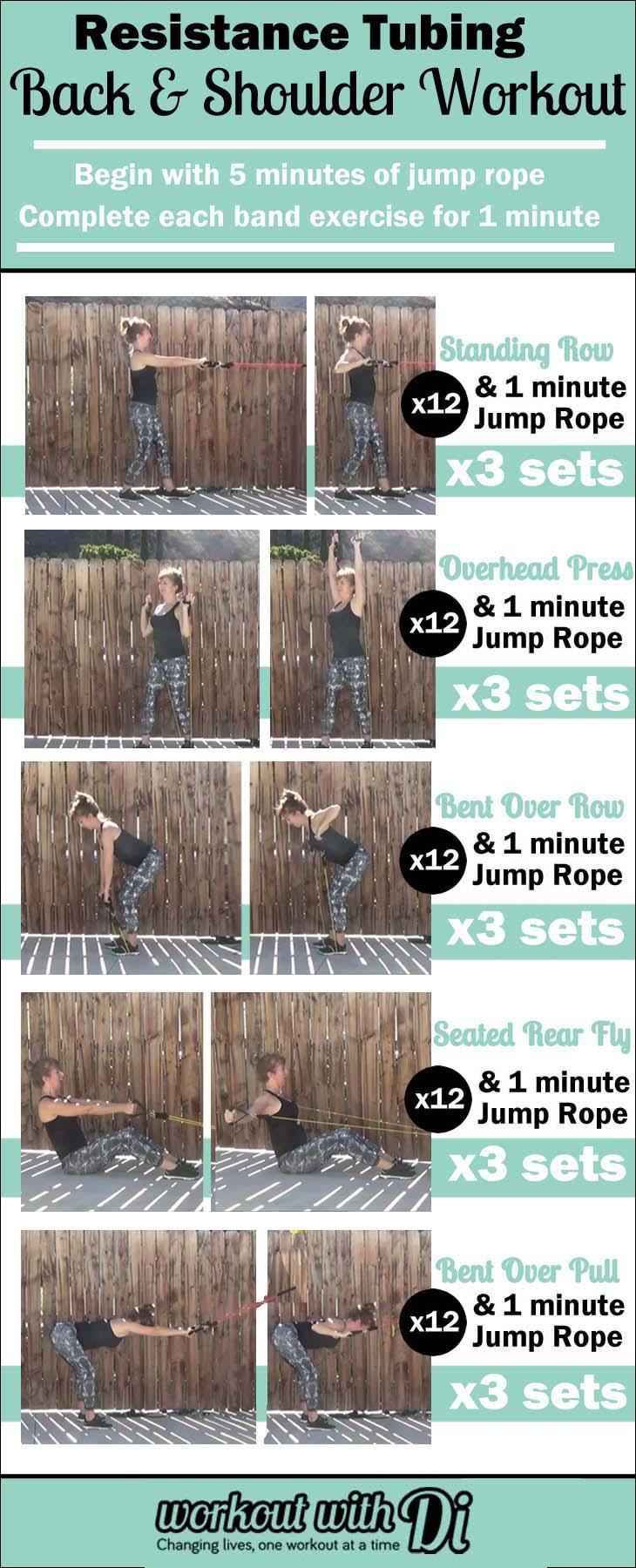 back and shoulder resistance tube workout