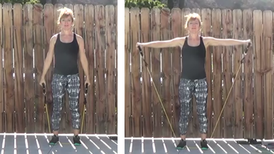 Fitness instructor demonstrating Lateral raise exercise with resistance band