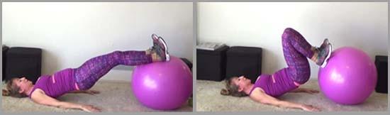 stability ball ham curl