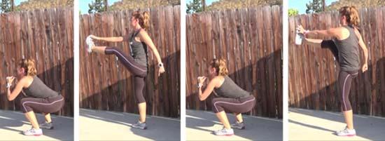 squat front kick no excuses bootcamp