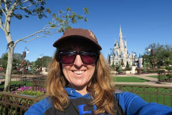 Vacation selfie in front of Magic Kingdom at Disney World