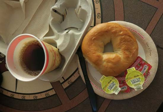 bagels and tea for breakfast