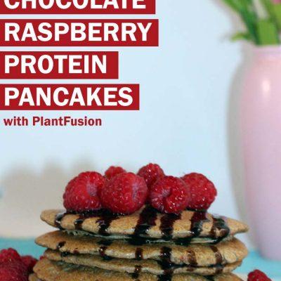 Vegan protein chocolate raspberry pancakes!