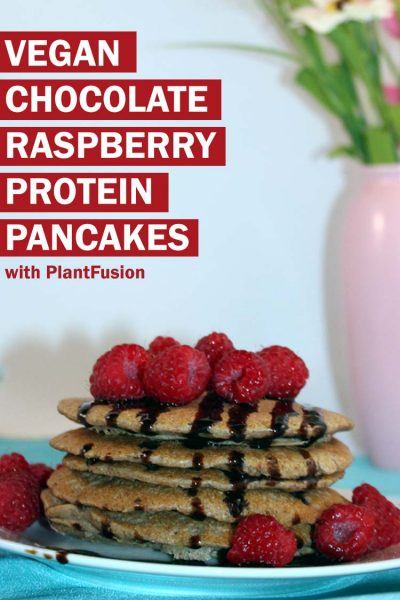 Vegan protein chocolate raspberry pancakes!