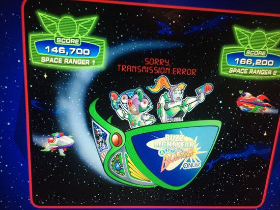 Pre-ride photos of buzz lightyear on astro blasters.
