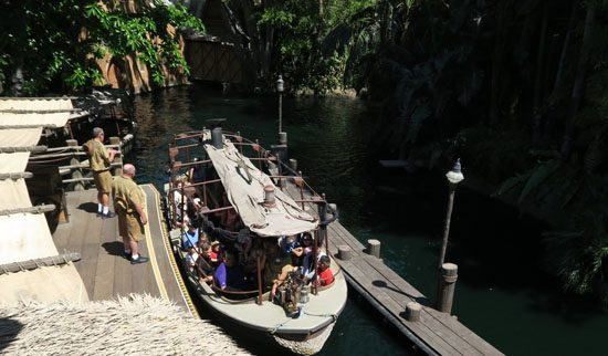 overhead view of a Jungle cruise boat at Disneyland