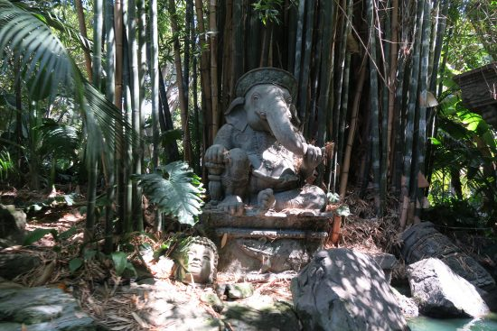 Ganesh and buddha statues along the  Jungle cruise ride experience at Disneyland