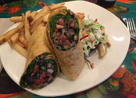 Portabello wraps, vegan menu item at rainforest cafe in downtown disney