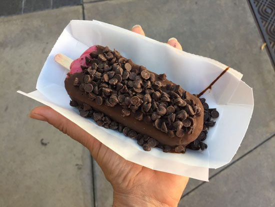 Chocolate covered Raspberry sorbet from Clarabelles ice cream shop Main St in California Adventure
