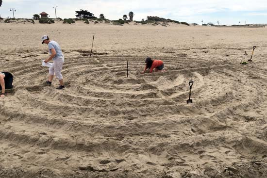 Building a labyrinth at the beach