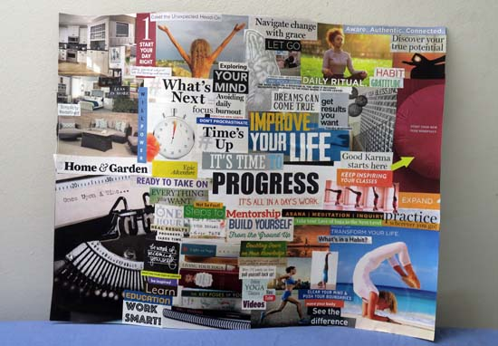 one word 2019 progress vision board