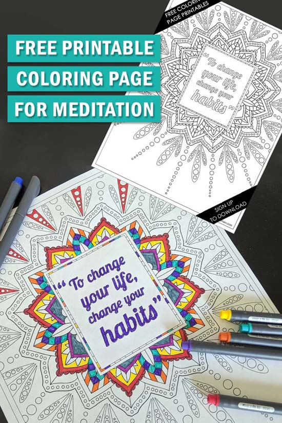Do you struggle to meditate? Have you explored using coloring as meditation? It has similar benefits. You can also get this free printable coloring sheet!