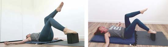 Pilates instructor showing single leg table top exercise using block