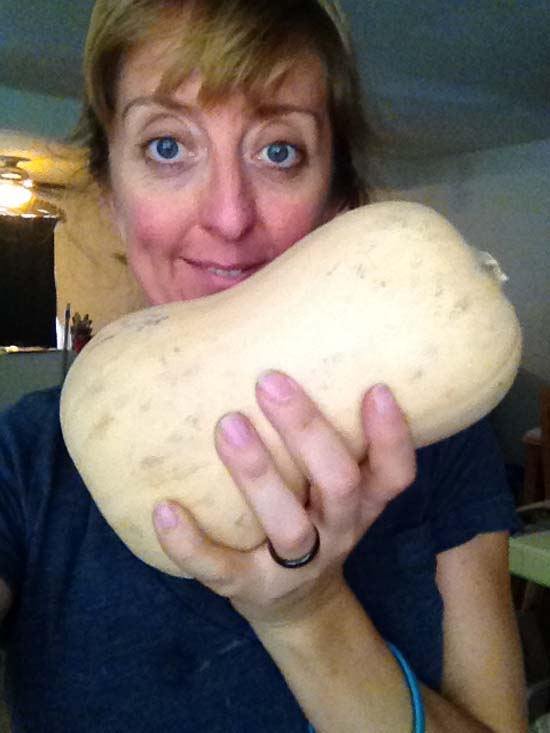Di Hickman with her butternut squash for meatless monday