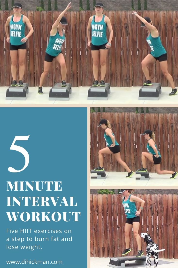 5 hiit exercises on a step to burn fat and lose weight