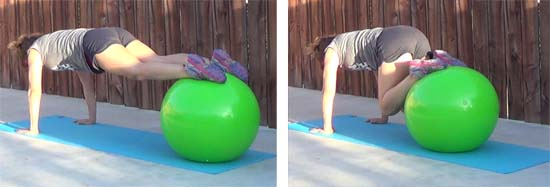personal trainer performing tuck core exercise with stability ball