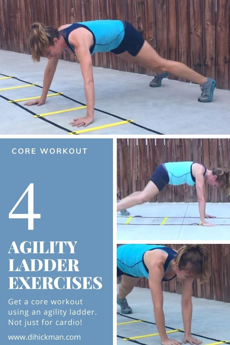 4 agility ladder exercises. Get a core workout using an agility ladder.