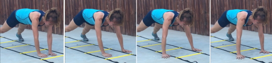 personal trainer demonstrating pat-a-cake plank using agility ladder