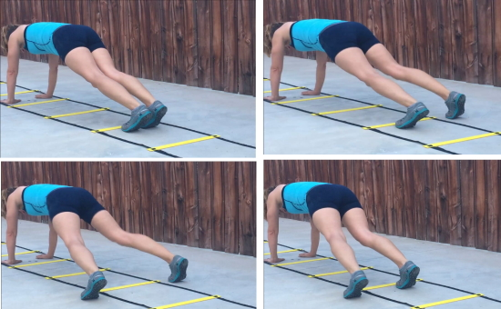 personal trainer demonstrating plank straddle using agility ladder