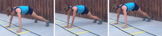 personal trainer demonstrating walking plank using agility ladder