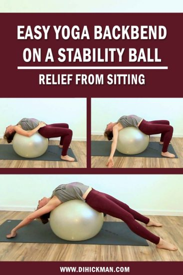 Easy yoga backbend on a stability ball