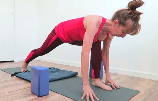 Yoga teacher demonstrating cow, cat, downward facing dog and runners lunge poses