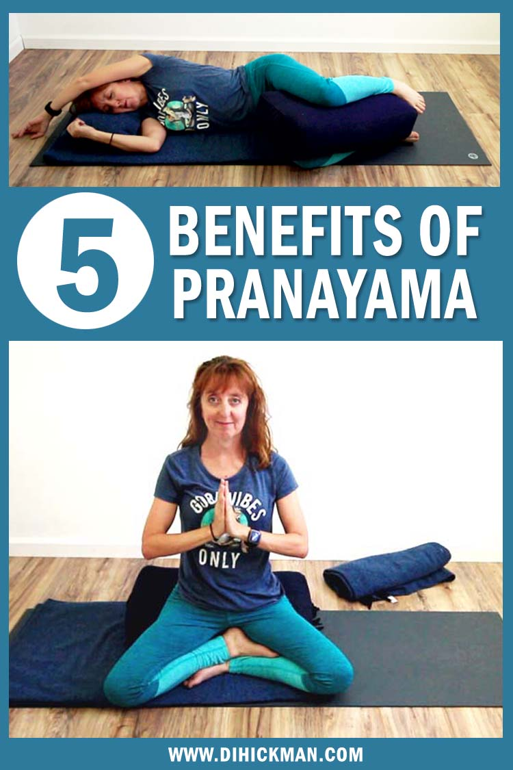 Discover 5 benefits of Pranayama. Then experience those benefits in a  restorative yoga breathing workout for beginners. Notice the breath, then regulate it.