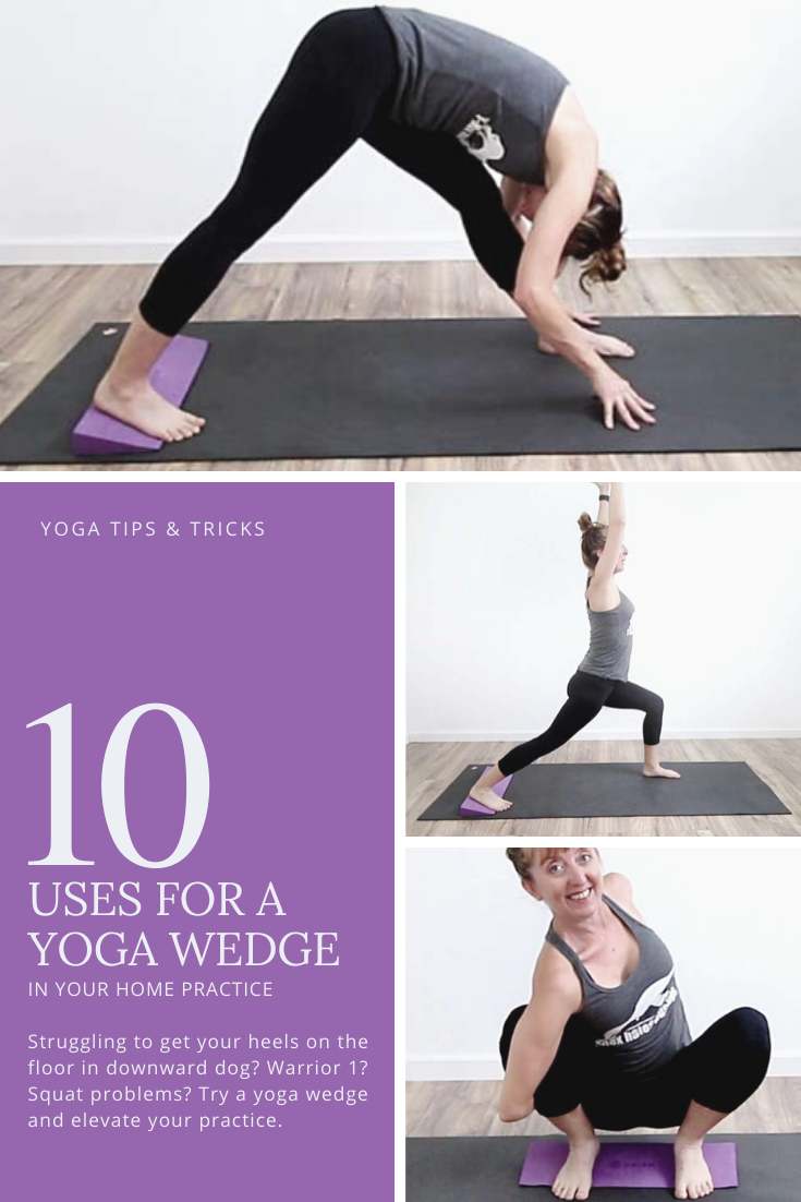 Struggling to get the heels to connect to the floor in yoga poses like squats, warrior 1, downward dog? Try a yoga wedge! Find ease & stability in the pose