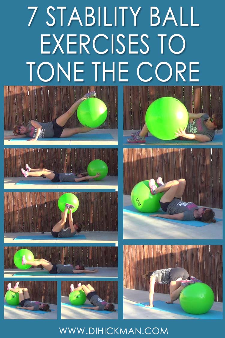 This fitness ball core workout consists of 7 exercises. Each one targets different muscles of the core for a balanced, challenging and well-rounded workout.