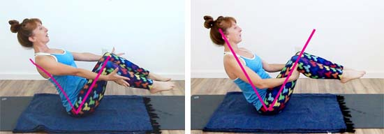 yoga teacher in boat pose with back arched vs rounded