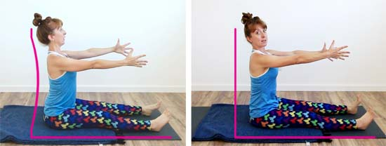 yoga teacher sitting in dandasana with back arched vs 'flat'