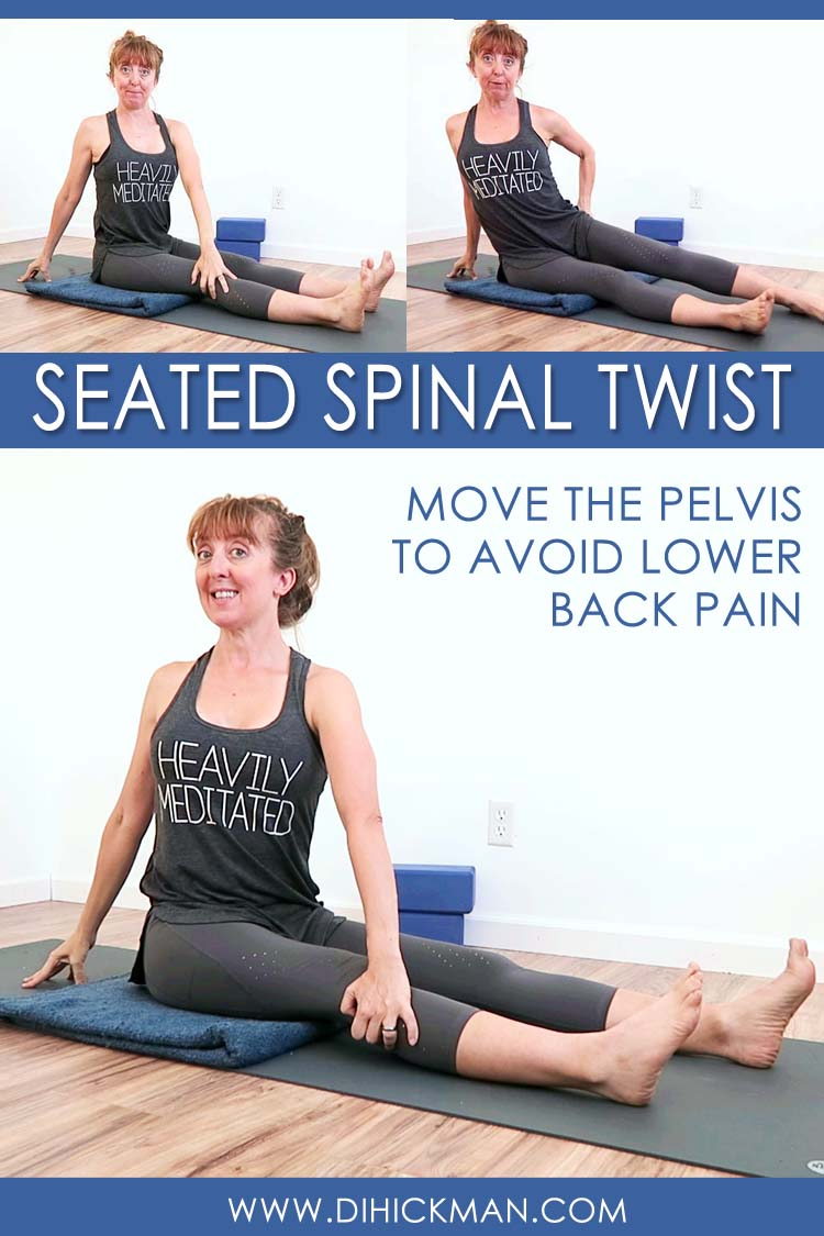 How to do seated spinal twist modifications for lower back pain relief. Yoga tip: throw traditional alignment cues out the window and MOVE the pelvis!