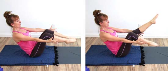 Yoga teacher holding boat pose with bent legs and extending one leg at a time