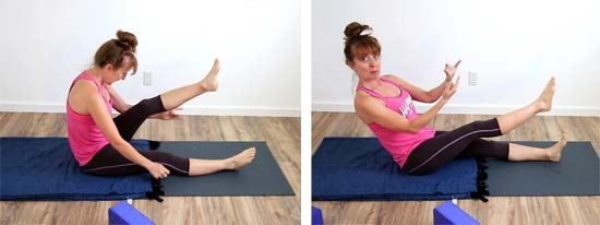 Yoga teacher showing alignment mistakes in the single leg lift exercise