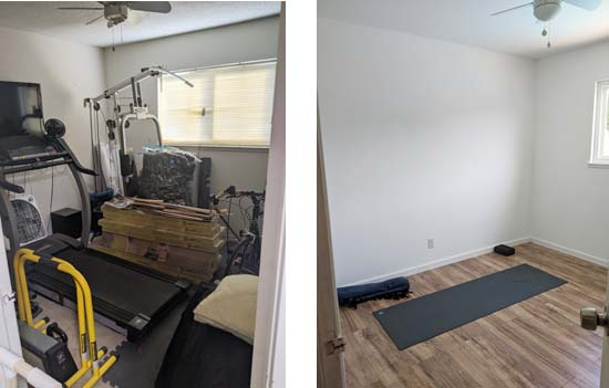 yoga room before and after