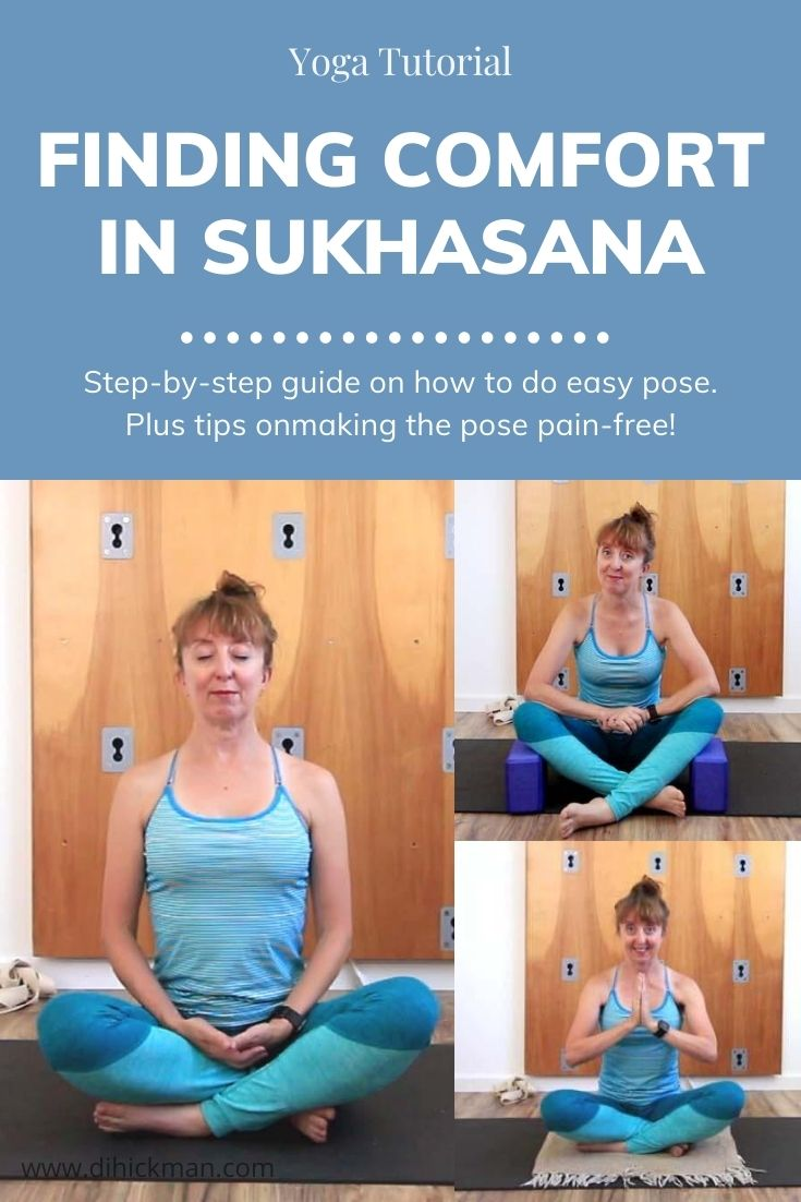 Yoga Tutorial. Finding comfort in sukhasana. Step-by-step guide on how to do easy pose. Plus tips on making the pose pain-free.