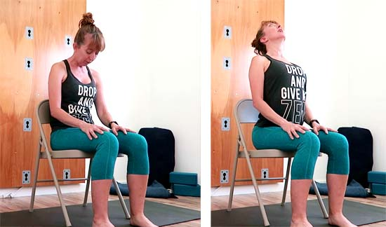 yoga teacher demonstrating cat and cow seated in a chair