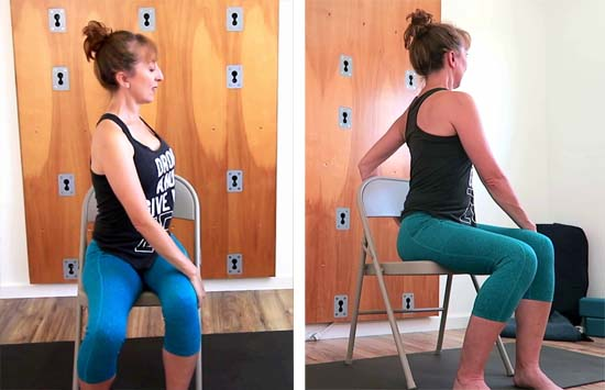 chair seated spinal twist yoga pose