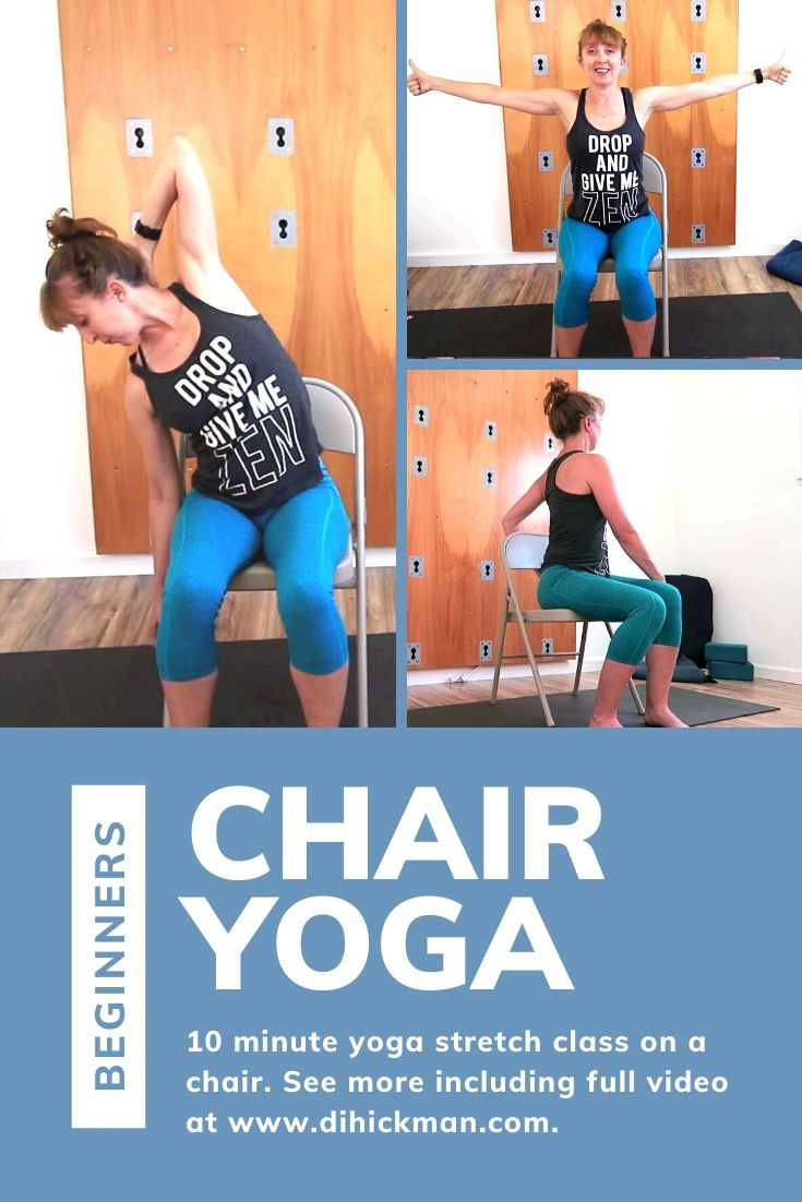 Beginners chair yoga. 10 minute yoga stretch class on a chair.