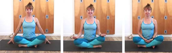 different arm positions in sukhasana