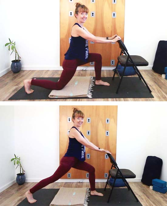 Yoga teacher demonstrating low to high lunge transition with chair