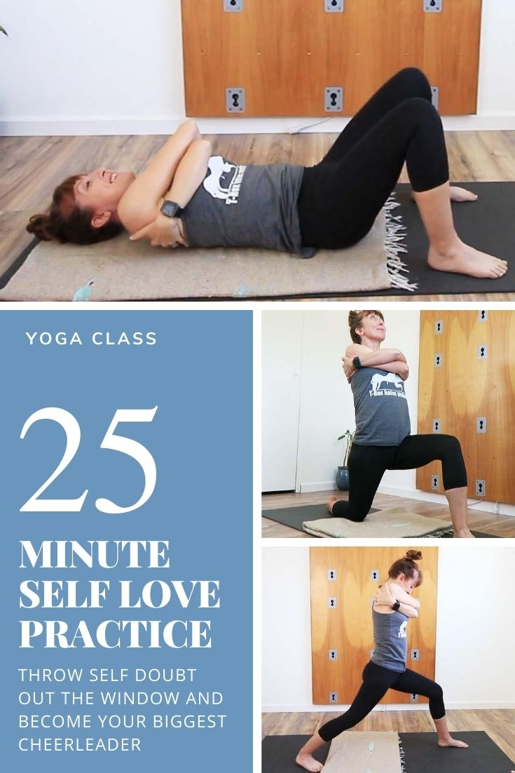 25 minute self love practice. Throw self doubt out the window and become your biggest cheerleader.