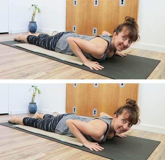 demonstration of feet width variation when laying face down